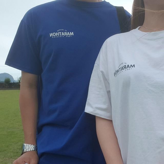 [쏘유마켓] 남녀공용 커플 프린팅 루즈핏 여름 반팔 마라톤 티셔츠