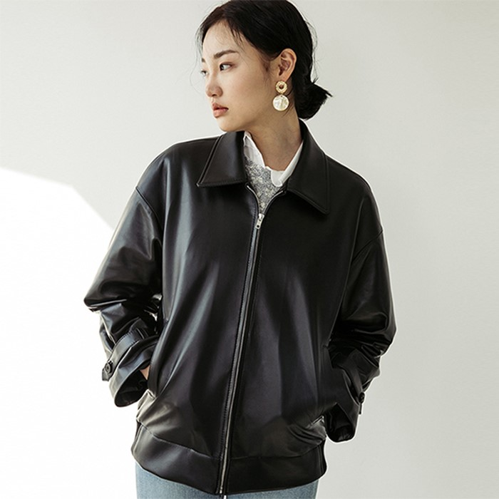 [스페로네] LAMB SKIN A-2 JACKET [BLACK]