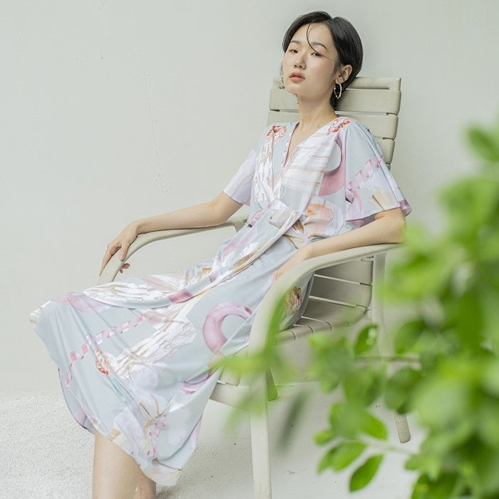 [블리다] mint geo wrap dress