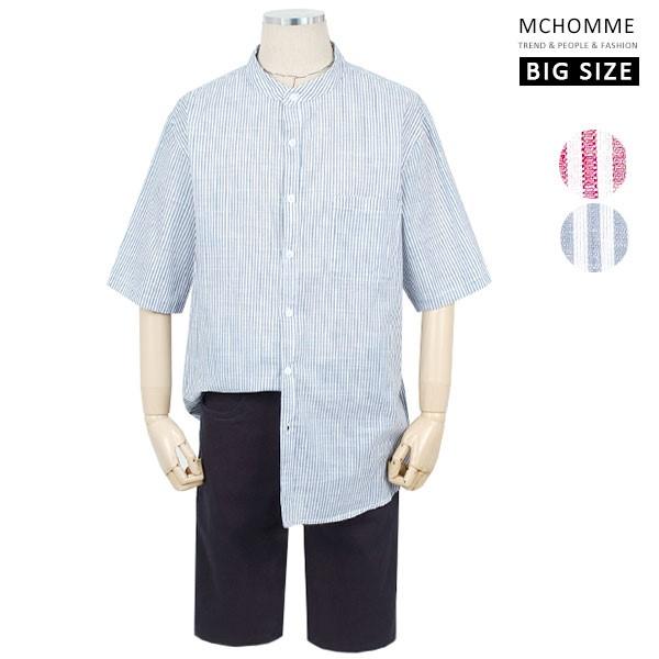 엠씨옴므 빅사이즈(~3XL) 헨리넥 스트라이프 5부 반팔 남방 셔츠 BS19S33_BL