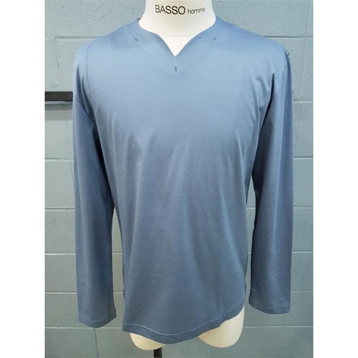 [바쏘옴므] 바쏘옴므 블루 넥포인트 긴팔 면 티셔츠 WST1KR02ABU