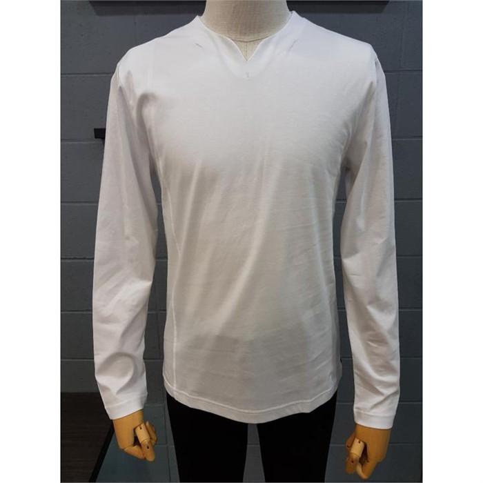 [바쏘옴므] 바쏘옴므 화이트 넥포인트 긴팔 면 티셔츠 WST1KR01AWH