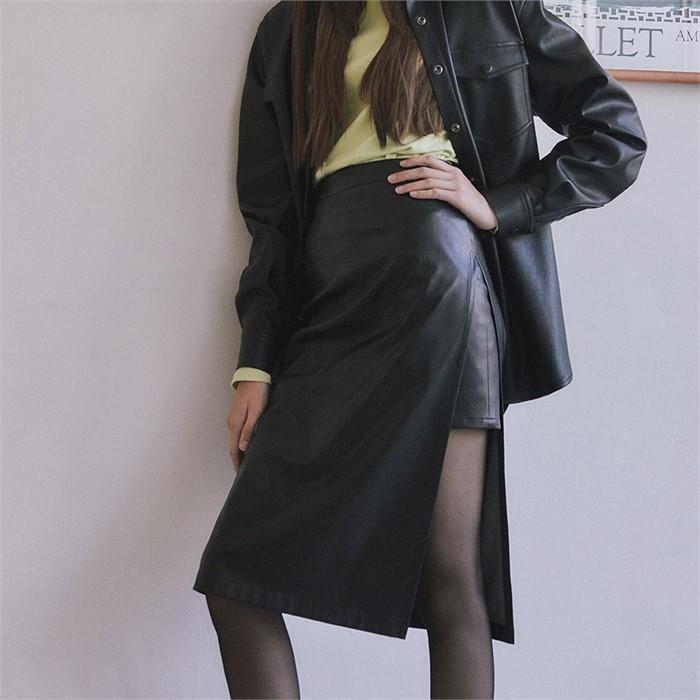 [ROSIER] 18fw combi leather midi skirt black