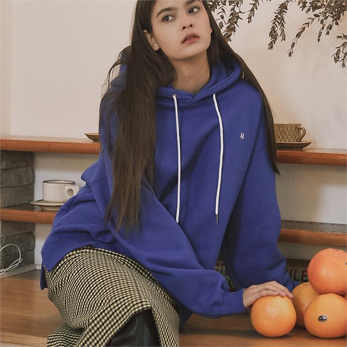 [ROSIER]18fw R logo oversized hoodie blue