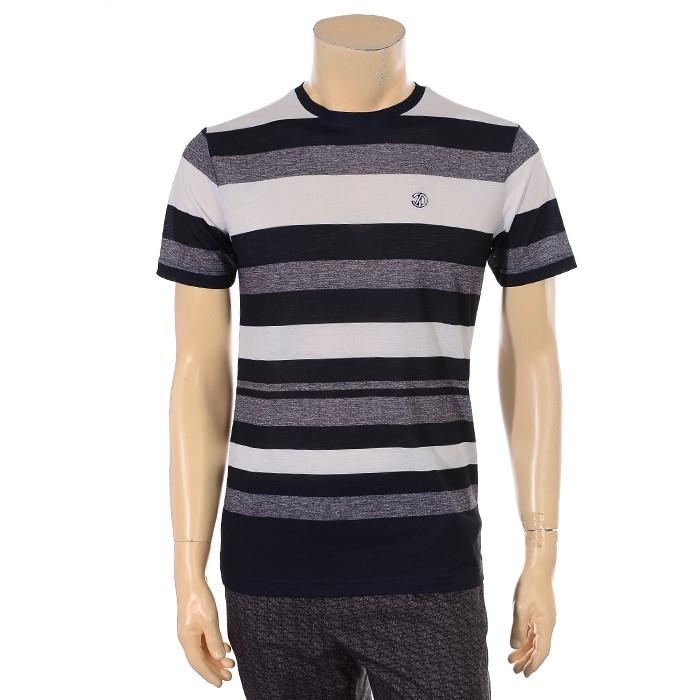 JDX NC02 남성 스트라이프 라운드 티셔츠 X2QMTSM10