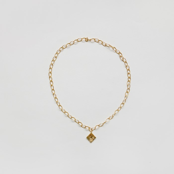 [비베] Rose Oval Chain Necklace (Gold)