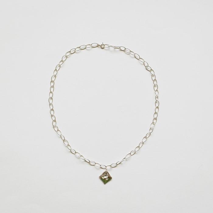 [비베] Rose Oval Chain Necklace (Silver)