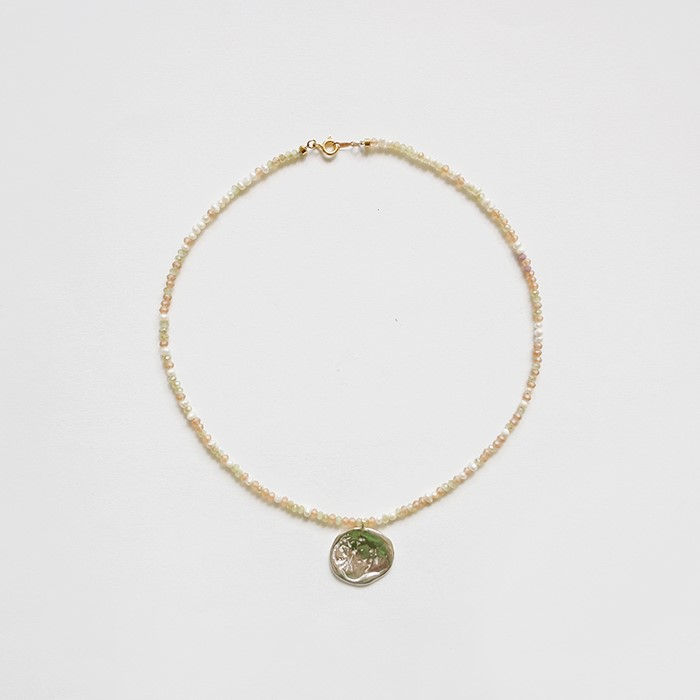 [비베] Apricot Seeds Metal Necklace