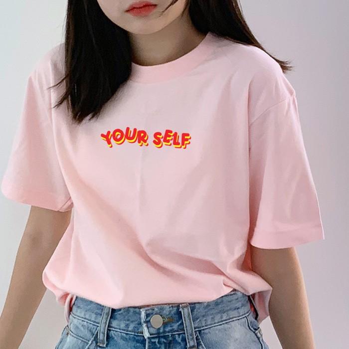 [험블스튜디오] 아트 라운드넥 레터링 여성 티셔츠