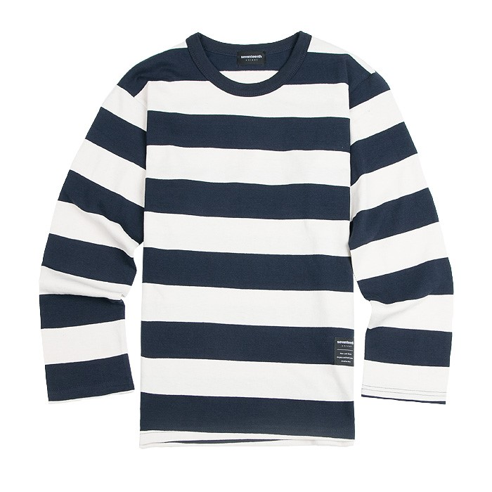 SEVENTEENTH BIG STRIPE LONG TSHIRTS NAVY