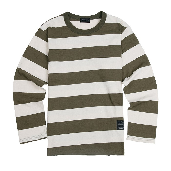 SEVENTEENTH BIG STRIPE LONG TSHIRTS KHAKI