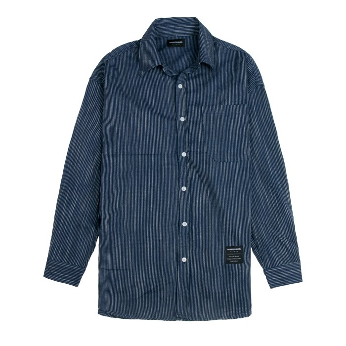 SEVENTEENTH TENSION STRIPE SHIRTS NAVY