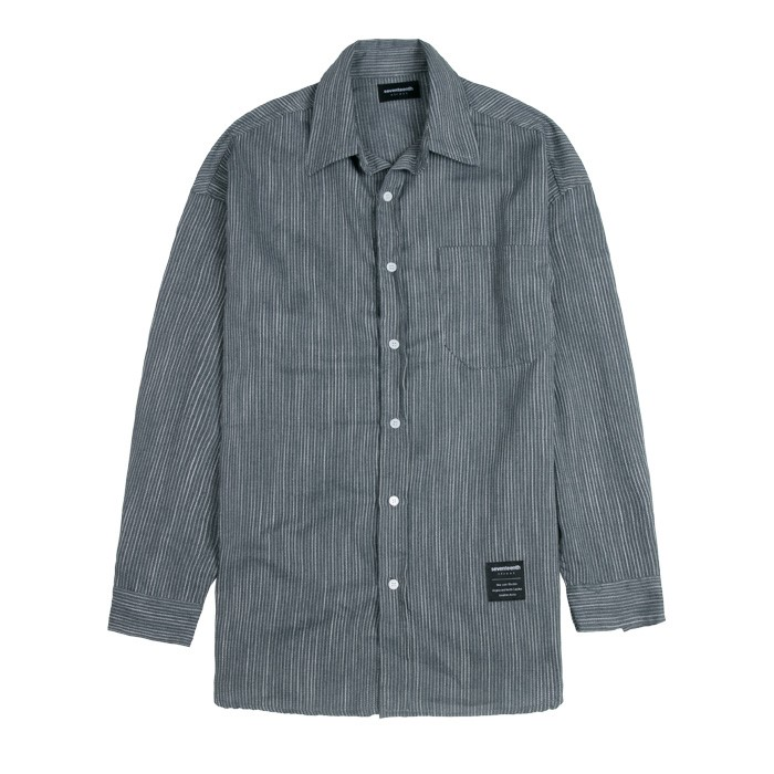 SEVENTEENTH TENSION STRIPE SHIRTS GRAY