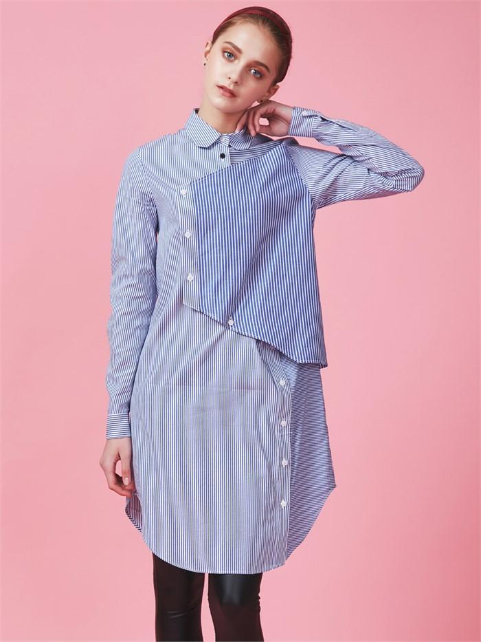 [아브라함케이한글] [아브라함케이한글]패치워크 블루 스트라이프 롱셔츠