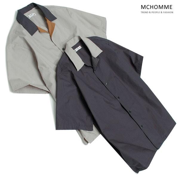 엠씨옴므 오버핏 컬러 배색 반팔 셔츠 TB18S03_G2