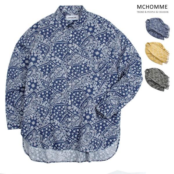 엠씨옴므 오버핏 싱어 패턴 남방 셔츠 AT18S103_NV