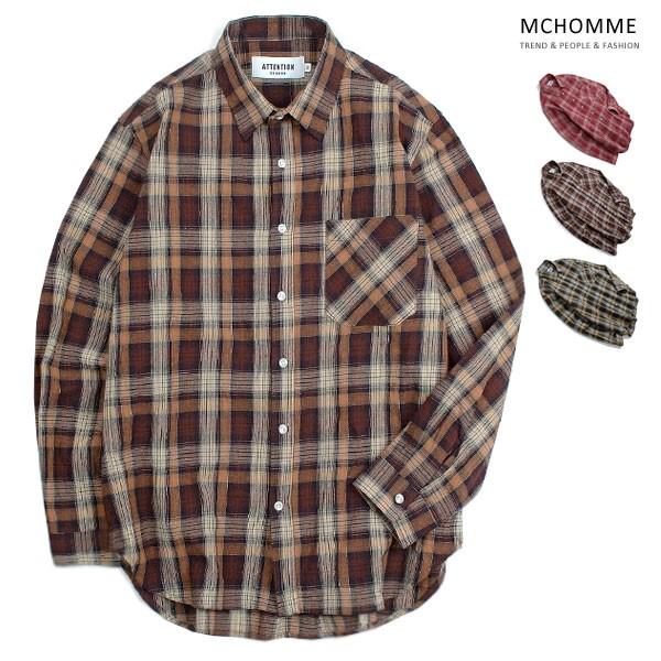 엠씨옴므 오버핏 매직 체크 남방 셔츠 AT18S100_BW