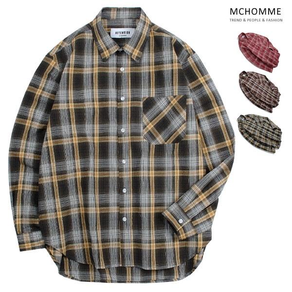 엠씨옴므 오버핏 매직 체크 남방 셔츠 AT18S100_GN