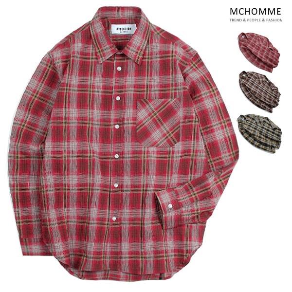 엠씨옴므 오버핏 매직 체크 남방 셔츠 AT18S100_R