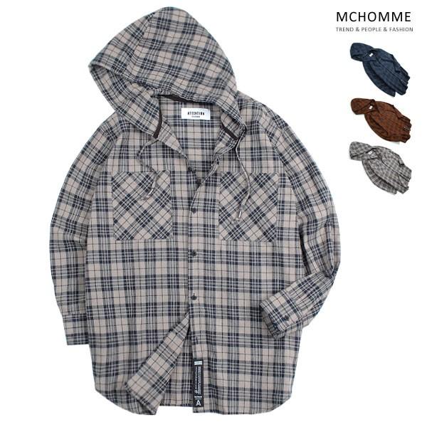 엠씨옴므 오버핏 A 후드 체크 남방 셔츠 AT18S101_BE