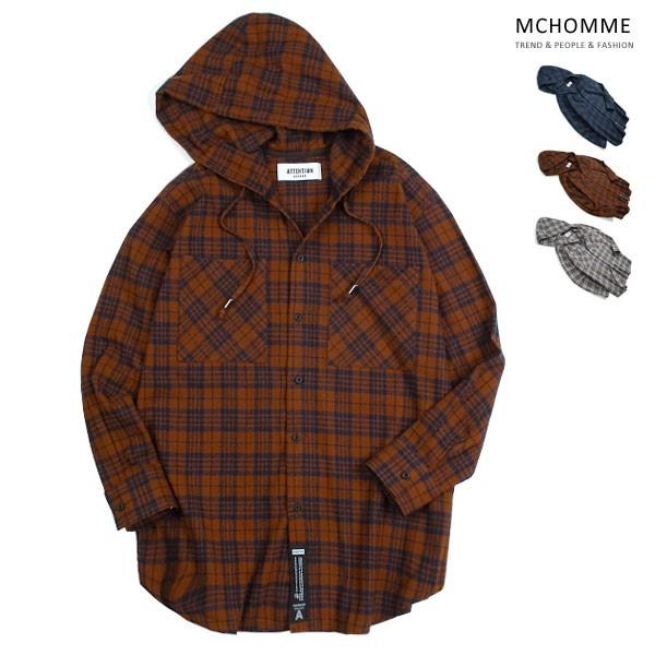 엠씨옴므 오버핏 A 후드 체크 남방 셔츠 AT18S101_BW