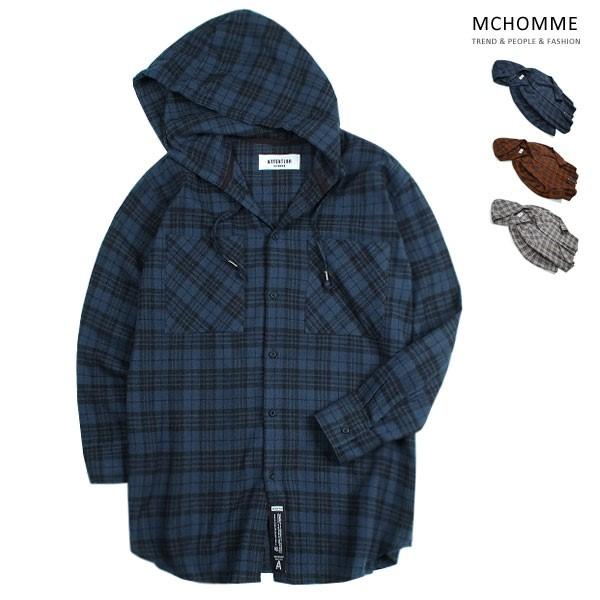 엠씨옴므 오버핏 A 후드 체크 남방 셔츠 AT18S101_NV