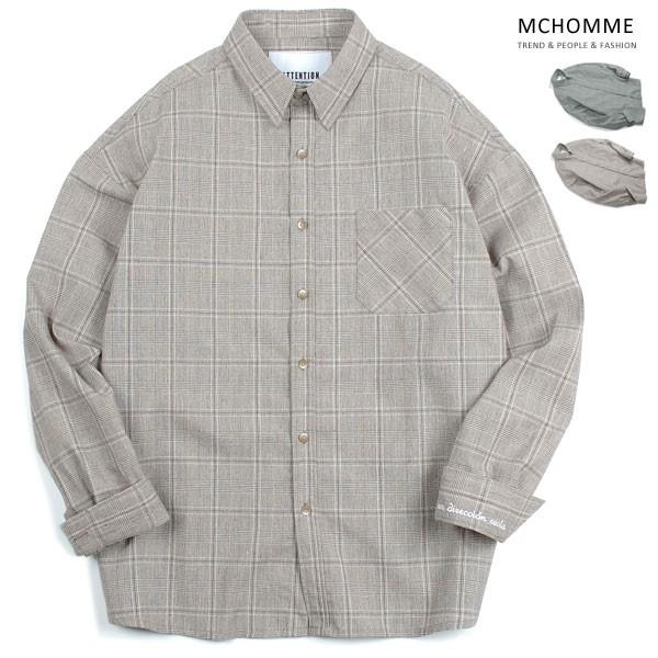 엠씨옴므 오버핏 라이프 체크 남방 셔츠 AT18S102_BE