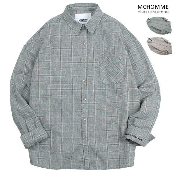 엠씨옴므 오버핏 라이프 체크 남방 셔츠 AT18S102_G
