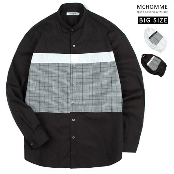 엠씨옴므 빅사이즈 체크포인트 차이나 남방 셔츠 MO18S103_B