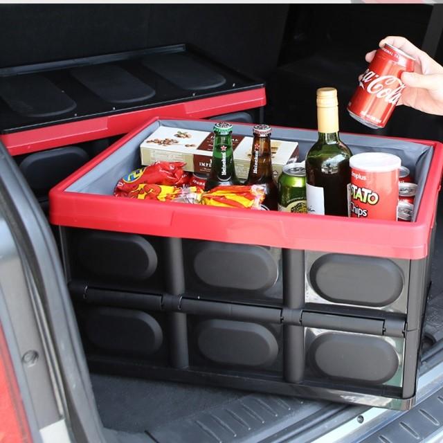 [소풍미소] 여행 필수품 낚시용 캠핑용 자동차 차량용 다용도 폴딩박스 삼각대 트렁크 수납함 정리함