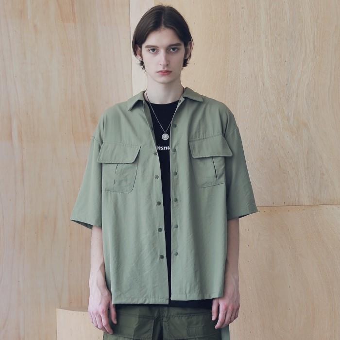 [매스노운] SL 로고 지그재그 투 포켓 반팔 셔츠 MSNST004-OV