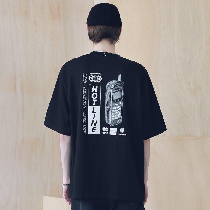 [매스노운] 핫-라인 오버사이즈 반팔티 MSNTS008-BK