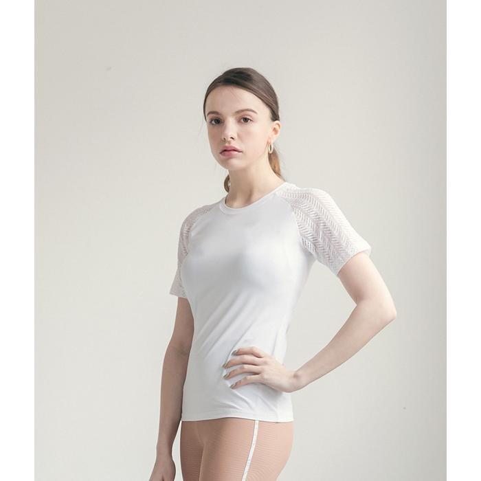 요가복 레이스 반팔 프리미어 티셔츠 -화이트