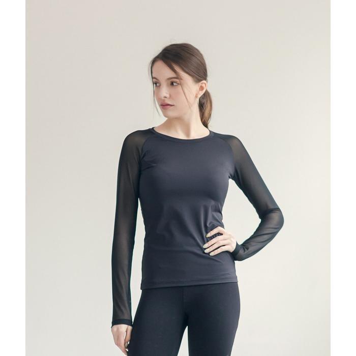 슬림핏 라운드 파워넷망사긴팔 티셔츠 - 블랙