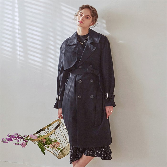[YAN13] LOOSE DOUBLE TRENCH COAT_BLACK