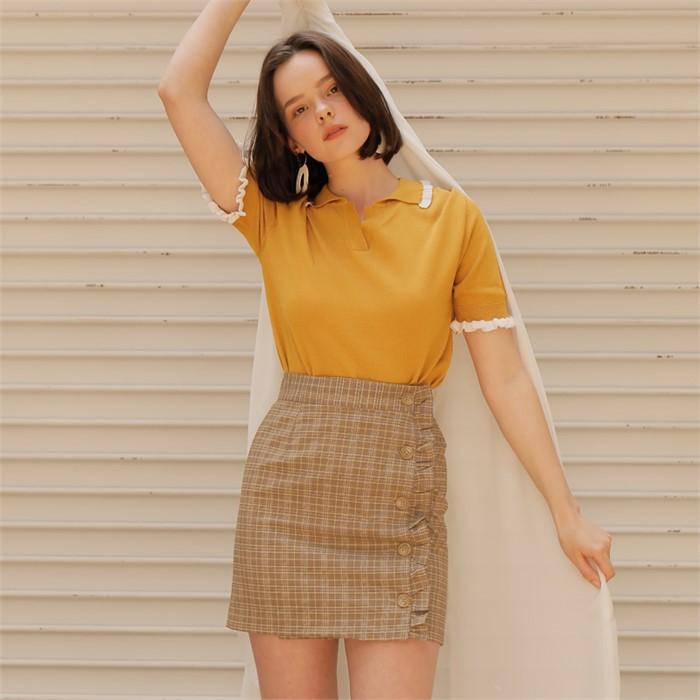 [엽페] check wrap skirt_yellow