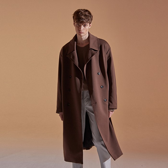 [DEANS] OVER STRAP DOUBLE COAT_CHOCO BROWN