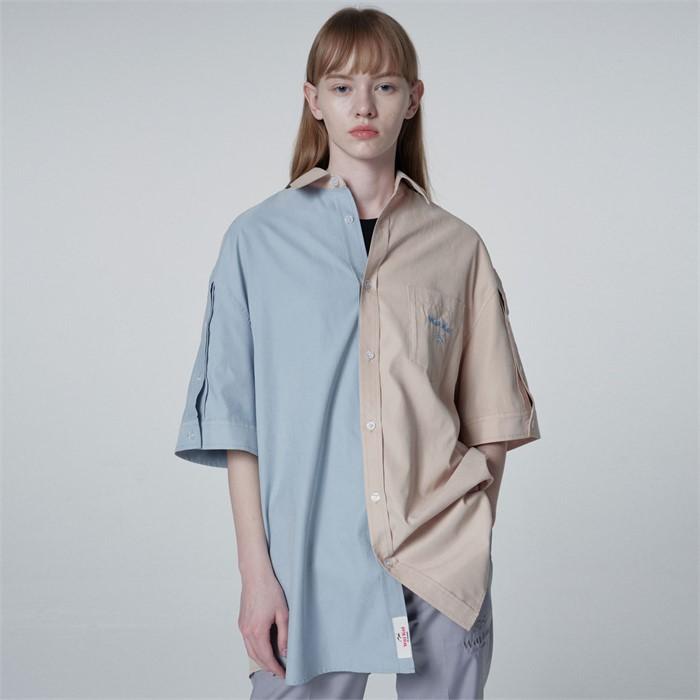 [와이케이] [스펙트럼 민재 착용]하프디자인 오픈슬리브 반팔셔츠 베이지소라