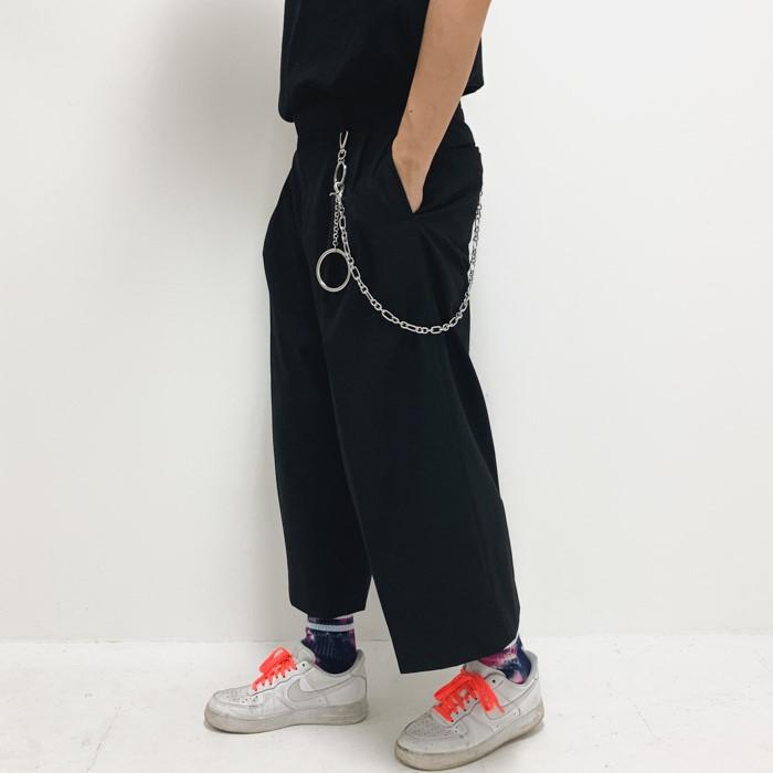 [믹스테이프] 남자 8부 투턱 크롭 와이드 슬랙스 팬츠(2color)