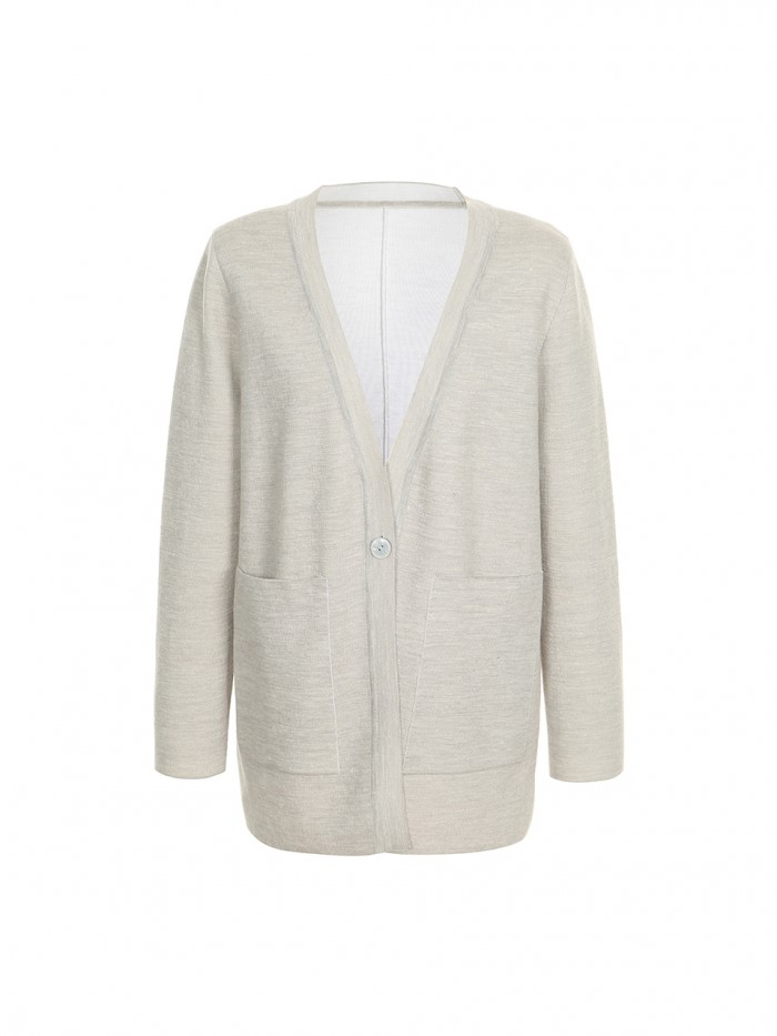 [쏠룹] 울& 리넨 라인 포인트 자켓 가디건 Light gray