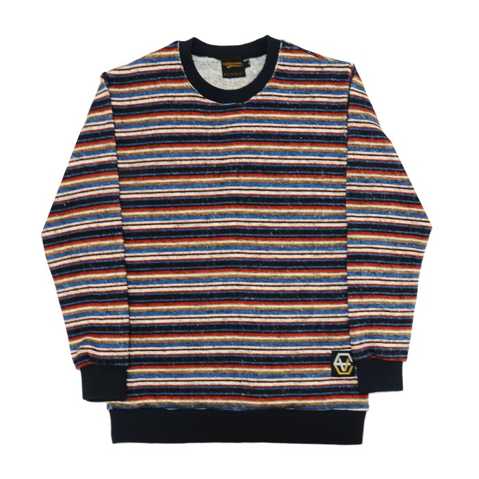 EV Stripe Knit Crewneck(Navy)