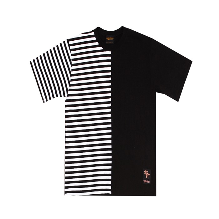 [에잇볼륨]EV Half Stripe Tee (Black)