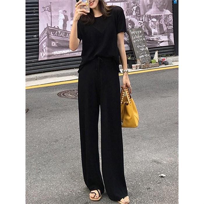 [일루아] 멜라 찰랑 티셔츠   팬츠 투피스SET(연노랑/블랙)
