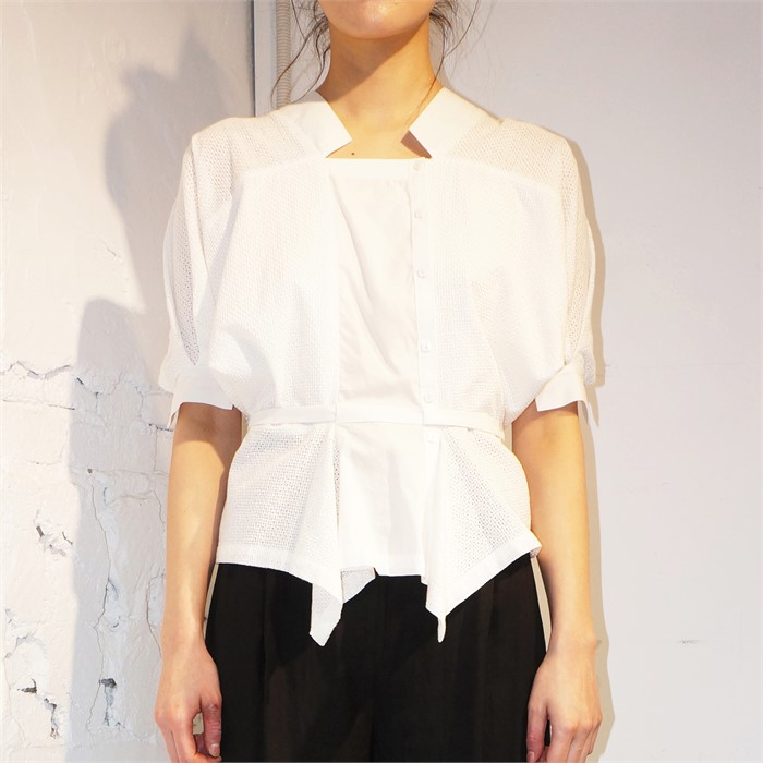 [사이미전] VOLANT HALF SLEEVE BLOUSE WHITE