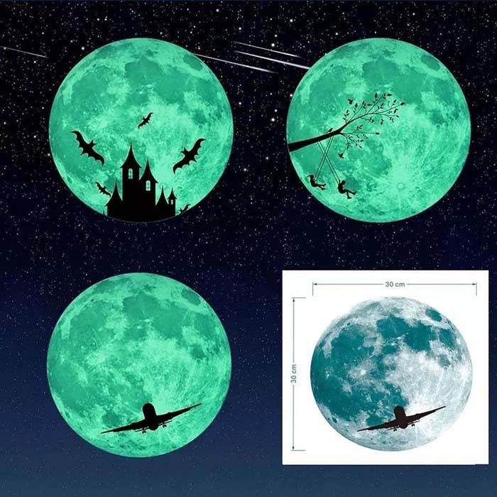 야광달 형광 포인트 그림 홈 데코 스티커