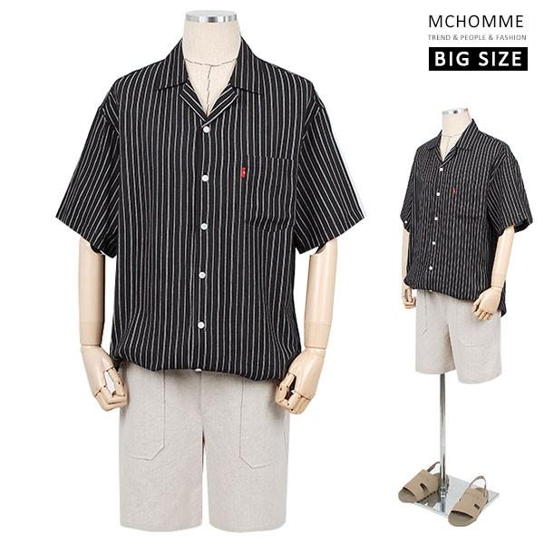 엠씨옴므 빅사이즈 오버핏 레인 스트라이프 남방 셔츠(~3XL) MO19S09_B