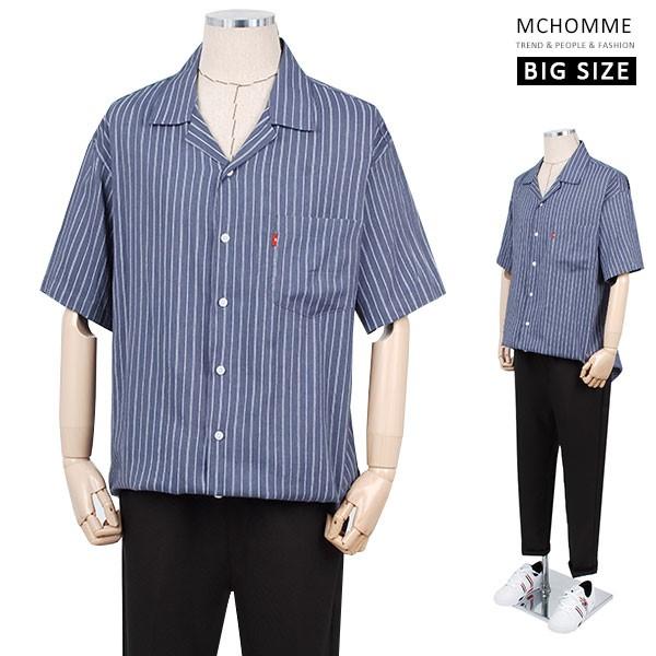 엠씨옴므 빅사이즈 오버핏 레인 스트라이프 남방 셔츠(~3XL) MO19S09_BL