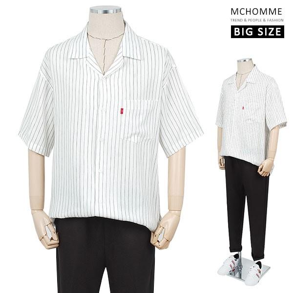 엠씨옴므 빅사이즈 오버핏 레인 스트라이프 남방 셔츠(~3XL) MO19S09_W