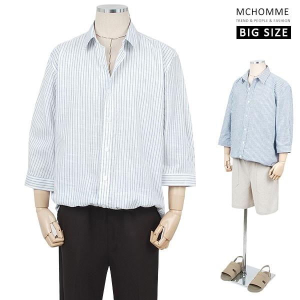 엠씨옴므 빅사이즈 오버핏 드림 스트라이프 남방 셔츠 (~3XL) NE19S12_W