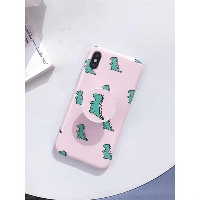 [일루아] 핑크 다이노 그립톡 아이폰 케이스